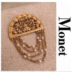 Monet Vintage Style Matte Goldtone Pin Pearl Drape